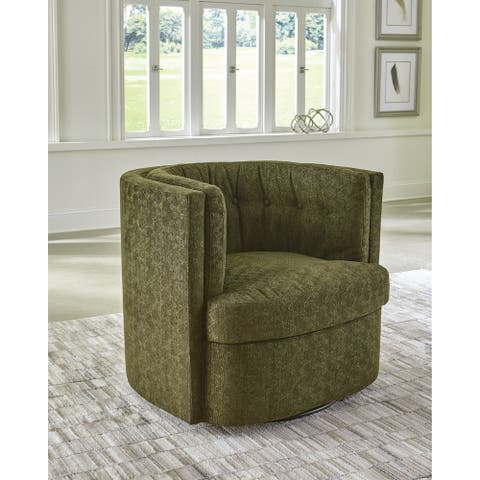 Langley Curved Diamond Shape Button Tufted Moss Green Swivel Chair