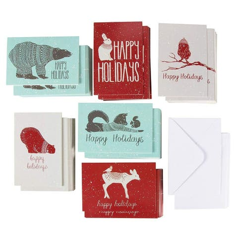 """144-Pack Holiday Greeting Merry Christmas Card - 6 Winter Animal Design, 4""""x6"""""""