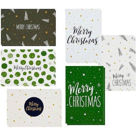 "48-Pack Christmas Card Bulk Box Set Blank Inside Green and Cream, 4.5""x6.25"""