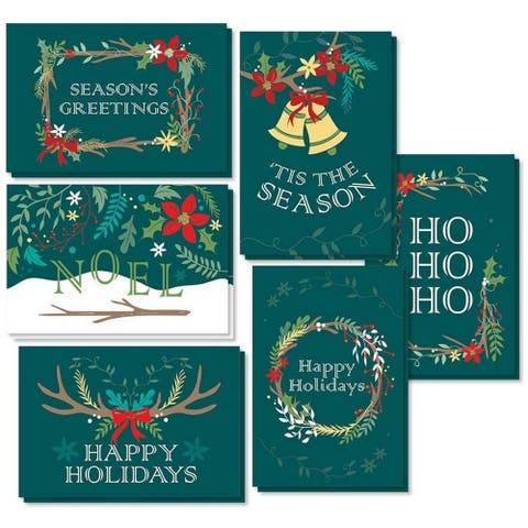"48 Merry Christmas Greeting Cards Bulk Box Set Xmas Winter Holiday Design 4""x6"""