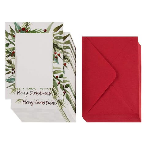 """36 Christmas Greeting Card Red Foil Photo Holder w/Envelope, hold 5""""x7"""" Insert"""