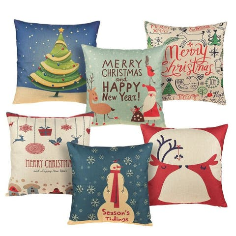 6-Pack Colorful Christmas Couch Throw Pillow Cushion Covers, Home Décoration