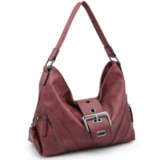 Classic Buckled Hobo Bag with Zip Pockets and Rolled shoulder straps