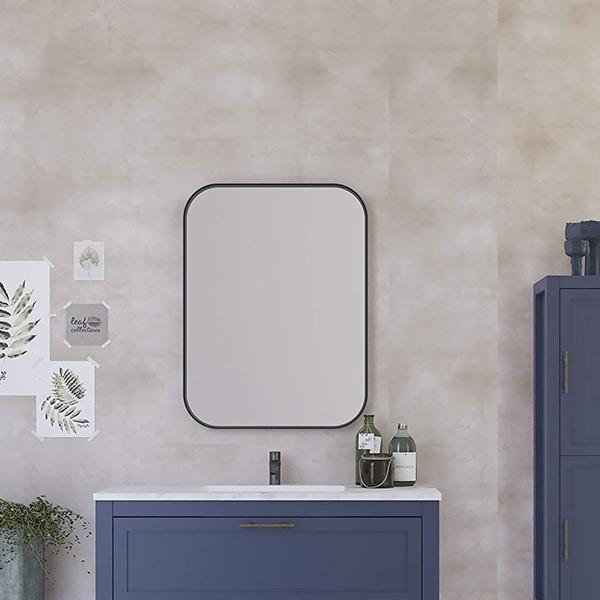 "24"" x 32"" Kende Squared Mirror / Black / Decorative Metal Squared Wall Mirror"