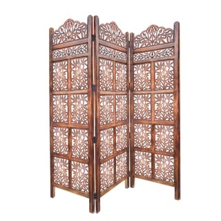 3 Panel Mango Wood Screen with Intricate Cutout Carvings, Brown