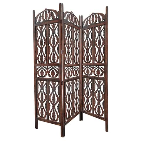 Decorative 3 Panel Mango Wood Screen with Abstract Carvings, Brown