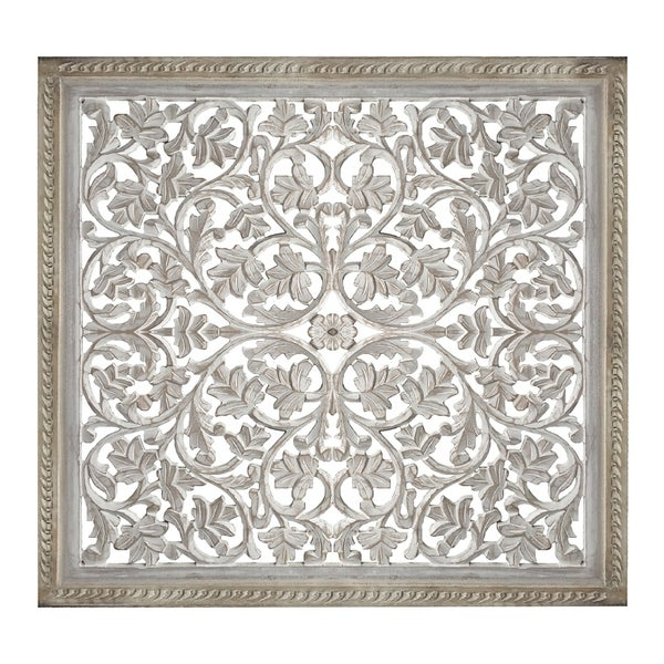 Square Shape Wooden Wall Panel with Cutout Sprig Pattern, Distressed White. Opens flyout.