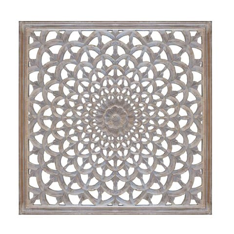 Square Shape Wooden Wall Panel with Intricate Flower Cutout, White and Gold