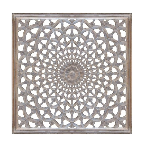 Square Shape Wooden Wall Panel with Intricate Flower Cutout, White and Gold. Opens flyout.