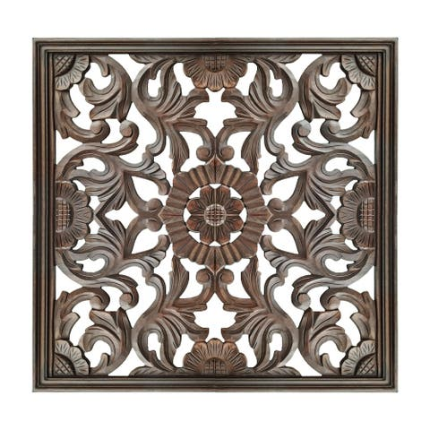 Square Shape Wooden Wall Panel with Filigree Carvings, Burnt Brown