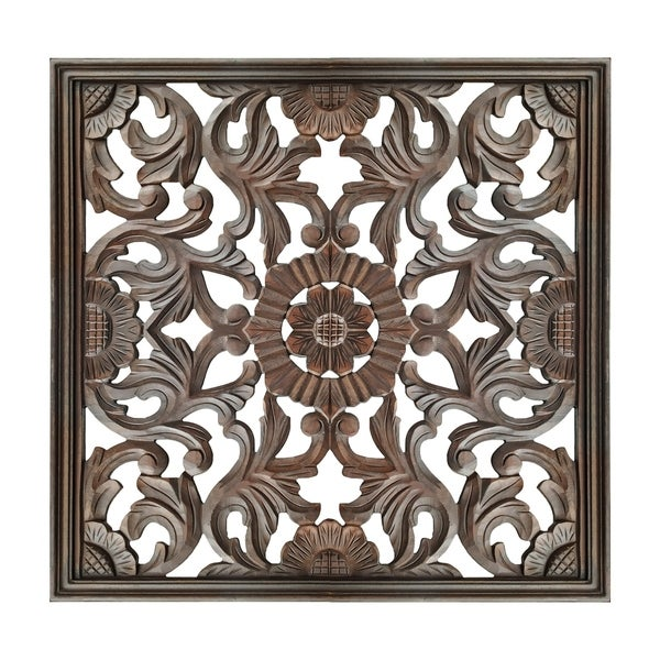 Square Shape Wooden Wall Panel with Filigree Carvings, Burnt Brown. Opens flyout.