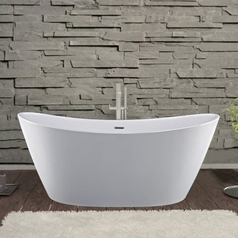 Empava 59 in Freestanding Bathtubs Acrylic Stand Alone Soaking Tubs