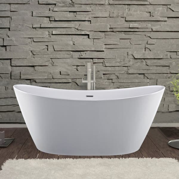 Empava 59 In Freestanding Bathtubs Acrylic Stand Alone Soaking Tubs Overstock 30294342