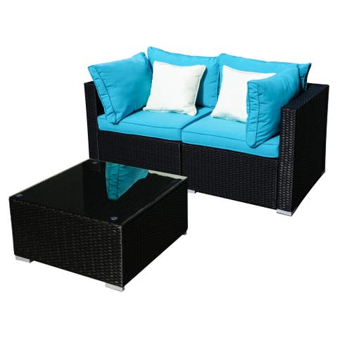 The Curated Nomad 3pcs Outdoor Rattan Sectional Sofa- Patio Wicker Furniture Set