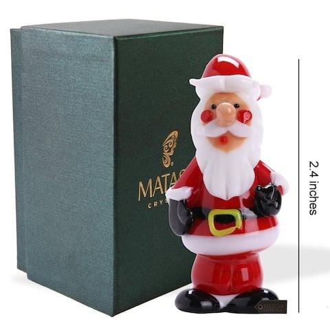 Matashi Home Decorative Tabletop Showpiece Murano Christmas Winter Decorative Glass Standing Santa Figurineand Ornament