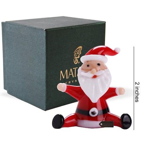 Matashi Home Decorative Tabletop Showpiece Murano Christmas Winter Decorative Glass Sitting Santa Figurineand Ornament