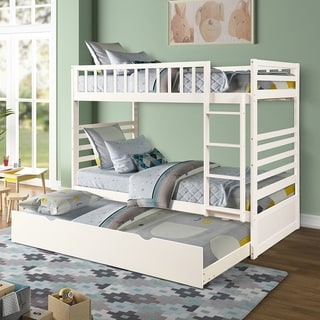Merax Twin Over Twin Bunk Bed with Trundle Solid Wood, Ladder and Safety Rail
