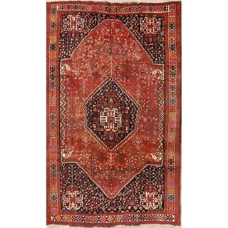 """Link to Vintage Rust Geometric Oriental Shiraz Persian Area Rug Hand-Knotted - 5'8"""" x 9'1"""" Similar Items in Rugs"""