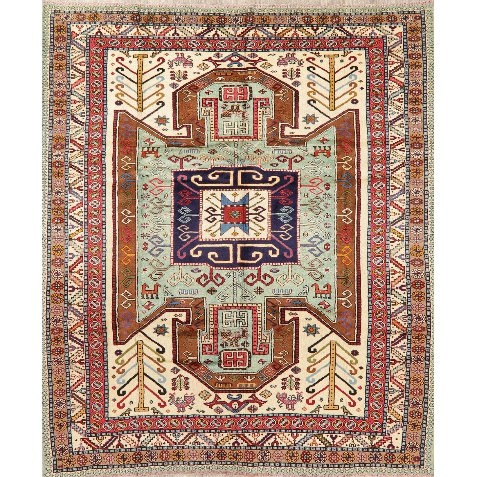 5x8 Area Rug Persian Oriental Traditional Design Antique Look Floral Gold //Beige