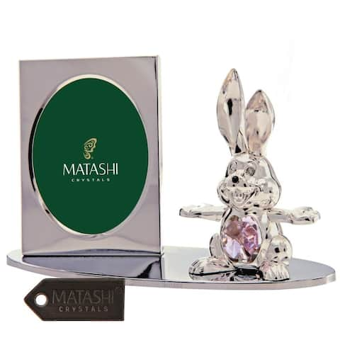Matashi Home Office Desc Decor Silver Plated Tabletop Picture Photo Frame w/ Crystal Decorated Cartoon Bunny Figurine on a Base