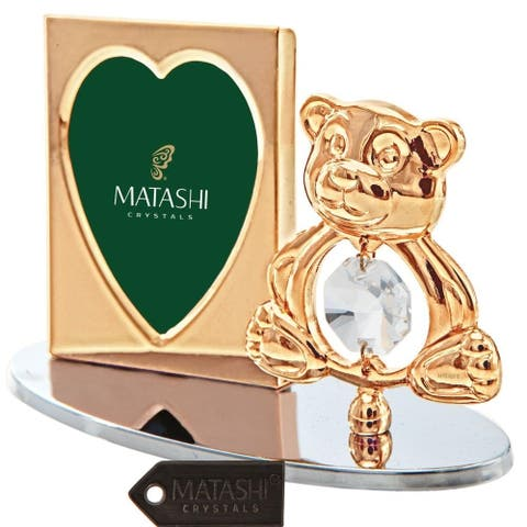 Matashi Home Office Desc Decor 24k Gold Plated Tabletop Picture Photo Frame w/ Crystal Decorated Teddy Bear Figurine Silver Base