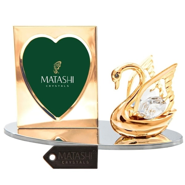 Matashi Home Office Desc Decor 24k Gold Plated Tabletop Picture Photo Frame w/ Crystal Decorated Swan Figurine on a Silver Base