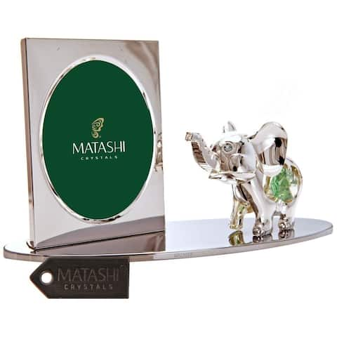 Matashi Home Office Desc Decor Silver Plated Tabletop Picture Frame with Crystal Decorated Cartoon Elephant Figurine on a Base