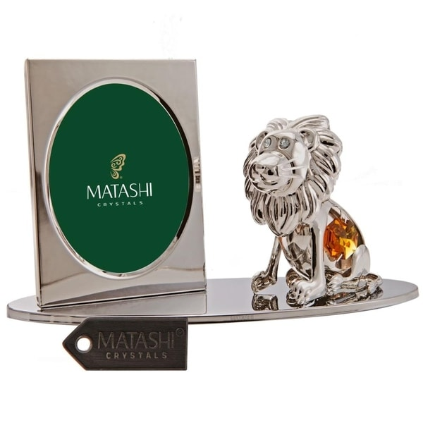 Matashi Home Office Desc Decor Silver Plated Tabletop Picture Photo Frame with Crystal Studded Cartoon Lion Figurine on a Base