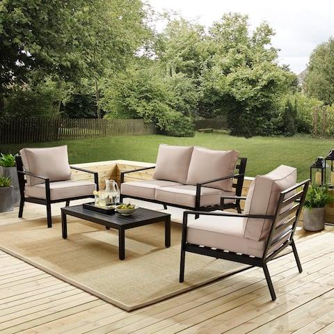 Black 4 Piece Outdoor Slat Back Sofa Sectional Patio Furniture Set