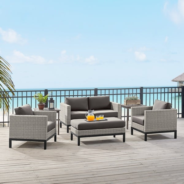 Grey 4 Piece Outdoor Wicker Weave Sofa Sectional Patio Furniture Set. Opens flyout.