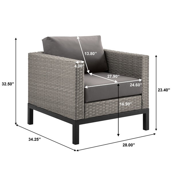 Grey 4 Piece Outdoor Wicker Weave Sofa Sectional Patio Furniture Set