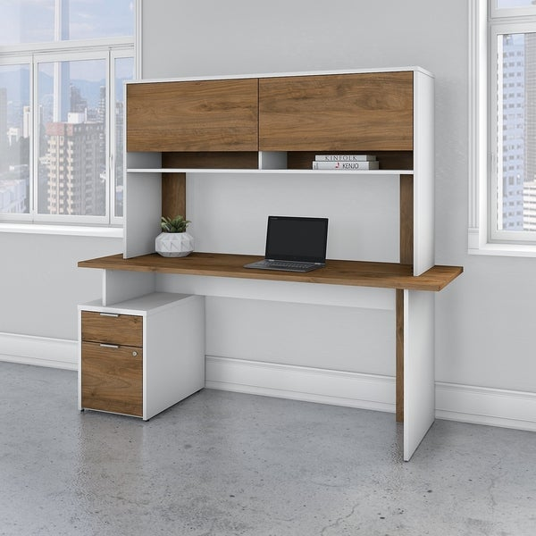 Jamestown 72W Desk with 2 Drawers and Hutch by Bush Business Furniture