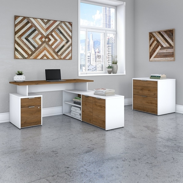 Jamestown 60W L Desk with File Cabinet by Bush Business Furniture