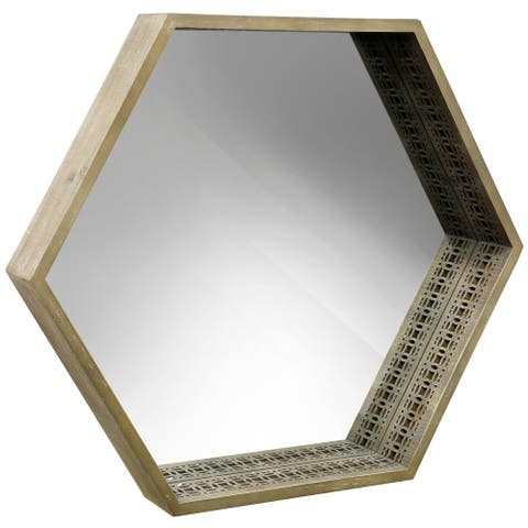 Hexagon Vintage Wood Frame Mirror with Cutout Detail - Brown