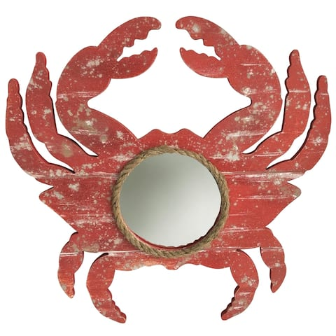 StyleCraft Weathered Crab Red Crab Outline with Center Round Mirror and Natural Rope Detail