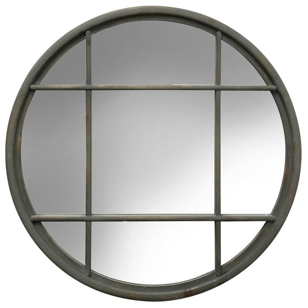Round Gray Window Pane Framed Mirror