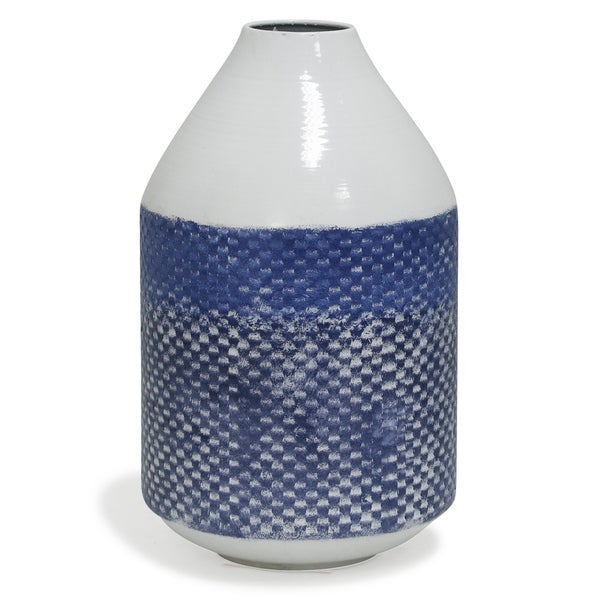 Cree 14-inch White and Blue Distressed Checkered Cylinder Metal Vase