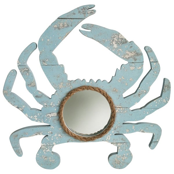 Weathered Crab Blue Crab Outline with Center Round Mirror and Natural Rope Detail