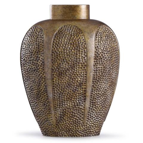 StyleCraft Chateau 17-inch Textured Gold Hammered Resin Vase