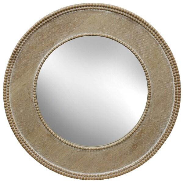 Round Vintage Wood Frame Mirror with Beaded Trim
