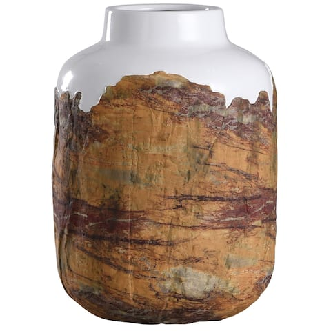 StyleCraft Canyon Brown and White Textured Cylinder Ceramic Vase