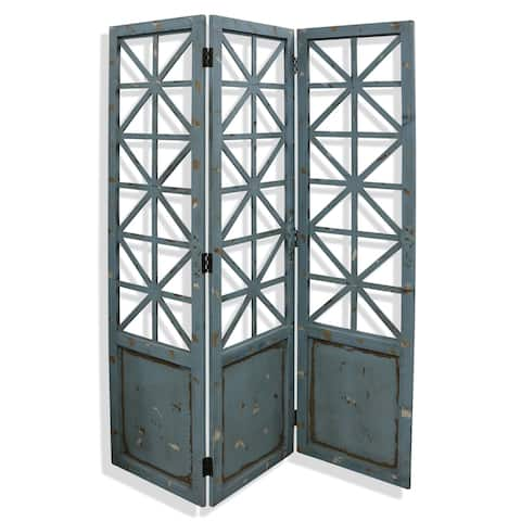 Gilsbury Distressed Blue and Black Ornate Wood and Metal X Panel Floor Screen