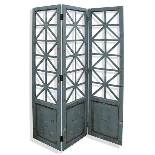 Gilsbury Distressed Blue and Black Ornate Wood and Metal X Panel Floor Screen