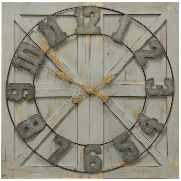 Weathered Matte Wood and Galvanized Square Wall Clock