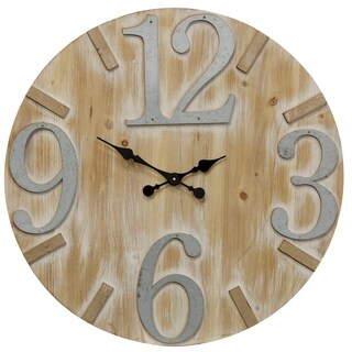 Weathered Matte Round Wood Wall Clock with Large Metal Numbers