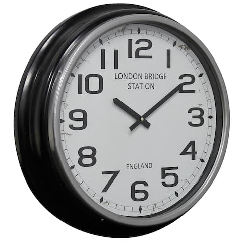 StyleCraft Semi Gloss Black Round London Station Wall Clock with Glass Front