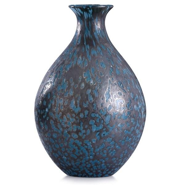 Modbury 13-inch Speckled Blue Art Glass Vase
