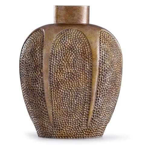 StyleCraft Chateau 13-inch Textured Gold Hammered Resin Vase