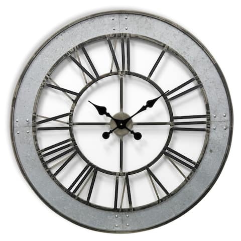 StyleCraft Matte Gray Round Roman Numeral Wall Clock with Faux Rivet Detail