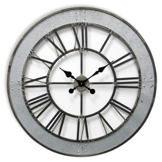 Matte Gray Round Roman Numeral Wall Clock with Faux Rivet Detail